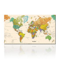 World Map Home Decorative Wall Artwork,Office Decor Map of World Trip Printed Canvas for Living Room Office Decor NO FRAME