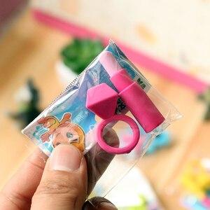 Image 3 - 48bag/lot Creative Ladies Ring, lipstick, sunglasses, eraser / cartoon eraser / student stationery/children gift