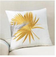 yellow palm leaves embroidered cushion covers plant flowers throw pillowcase decorative cover for cushion pillow sofa home