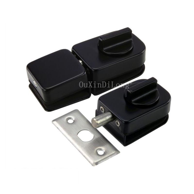1PCS Black Stainless Steel Glass Door Latches Lock/Bolt Glass Lock Hardware for 10-12mm Glass JF1798 high quality glass door latches lock bolt 8 12mm glass no drilling for bathroom double single glass door frameless glass door