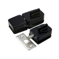 1PCS Black Stainless Steel Glass Door Latches Lock/Bolt Glass Lock Hardware for 10 12mm Glass JF1798