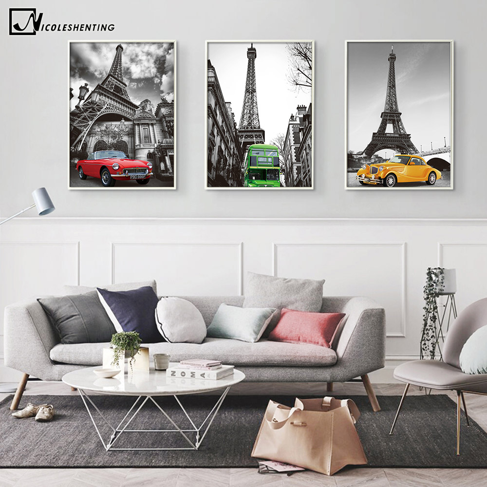 Paris Eiffel Tower Poster Minimalist Art Canvas Painting A4 Black White Cityscape Wall Picture Print Modern Home Office Decor