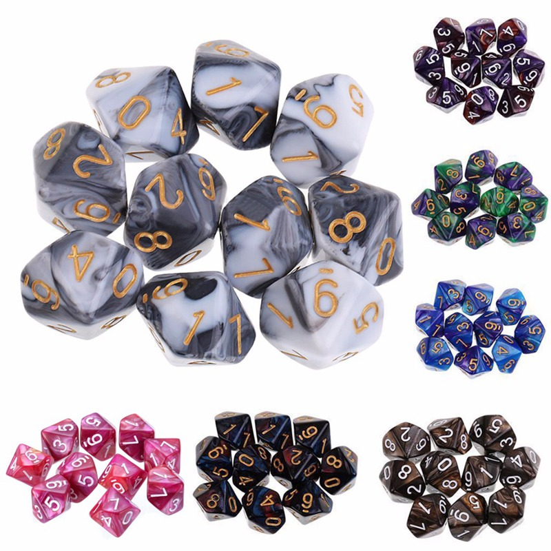 New Arrivals 10PCS/Set Colorful D10 Dice For Dungeons Dragons Dice Set Acrylic Polyhedral Playing Games Dice 7 Colors