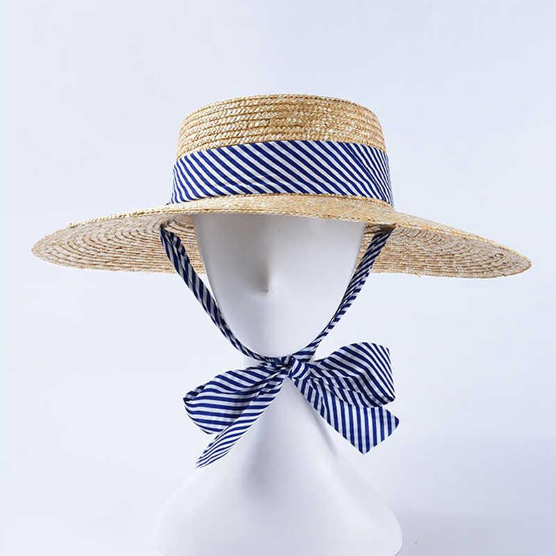 2019 موضة السيدات الصيف القش قبعة الشمس التصميم الأصلي مخطط حزام قبعة واقية النساء واسعة حافة قبعة للشاطئ دروبشيبينغ