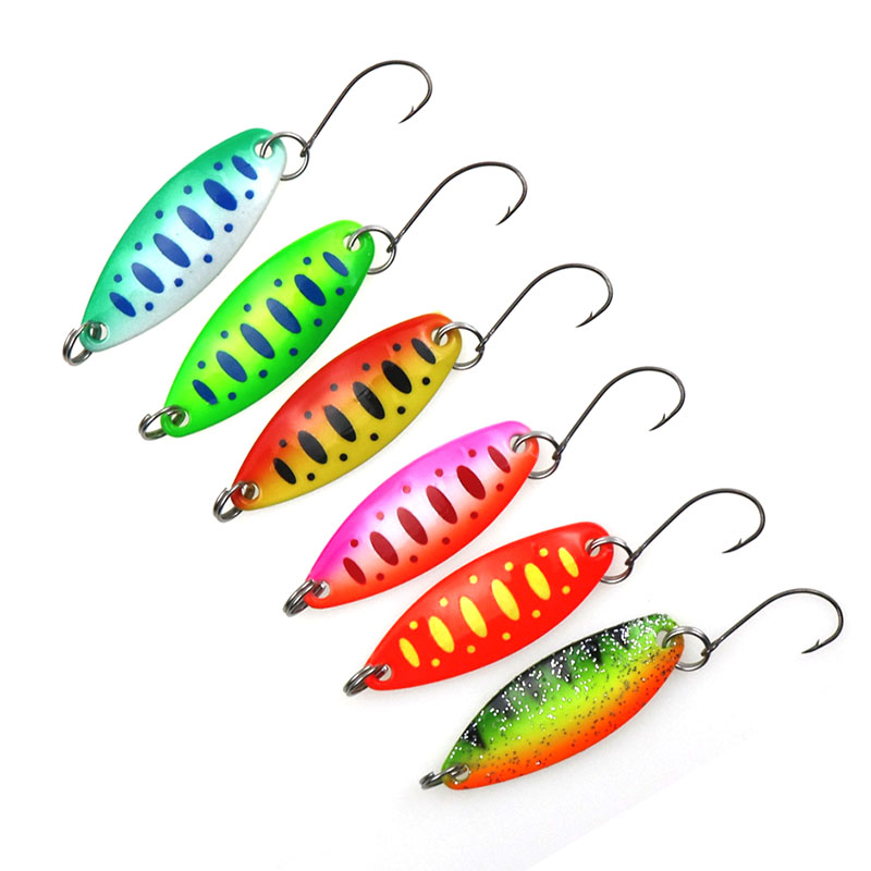 Fishing Spoons Trout Lures 6 Pcs/lot 3.5g 3.4cm Metal Casting Jig Lures with Single Hook Fishing Lures image