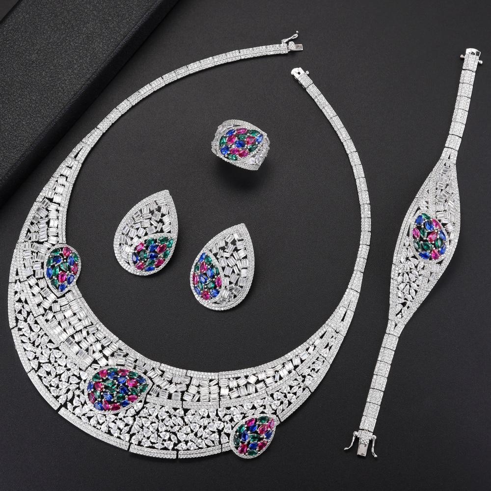 Luxury Big Teardrop Hollow Choker Necklace Wedding Jewelry Sets Cubic Zirconia Necklace Earrings Bracelet Ring Jewelry Sets