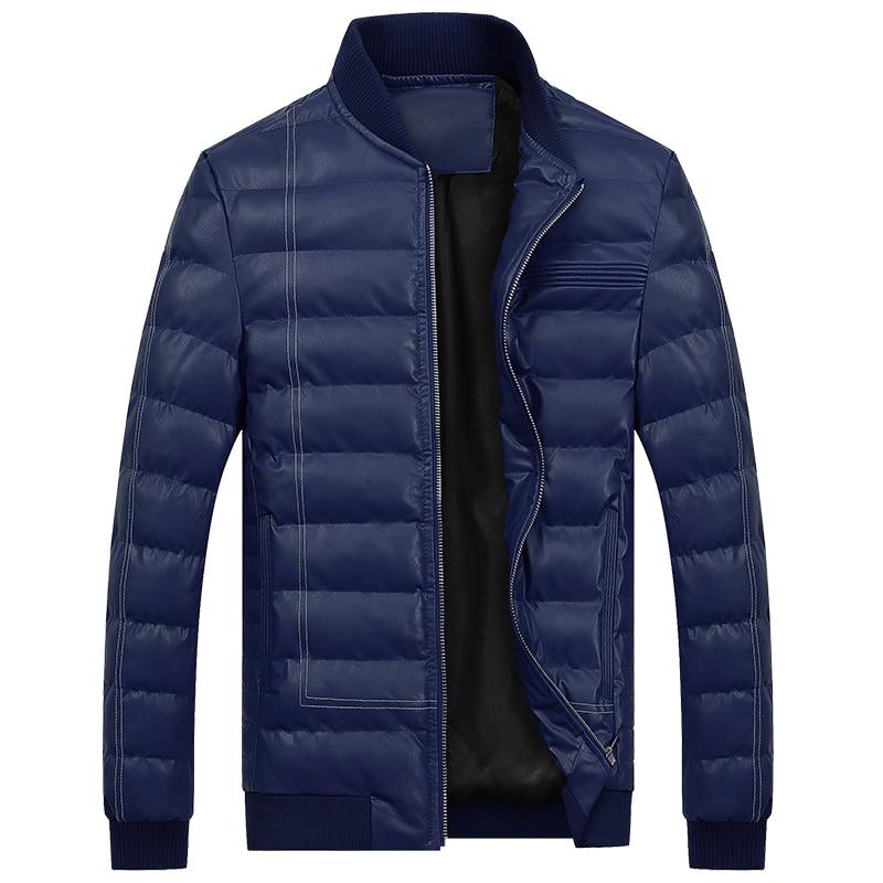 Di Cuoio degli uomini Giù Giacca Invernale PU Giacche di Pelle Per Uomo  Caldo Cappotto Cappotti 5fe13db82f1
