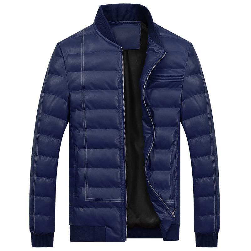 Mens Leather Down Jacket Winter PU Leather Jackets For Mens Warm Overcoat Casual Coats Leather Jackets High Quality M-3XL