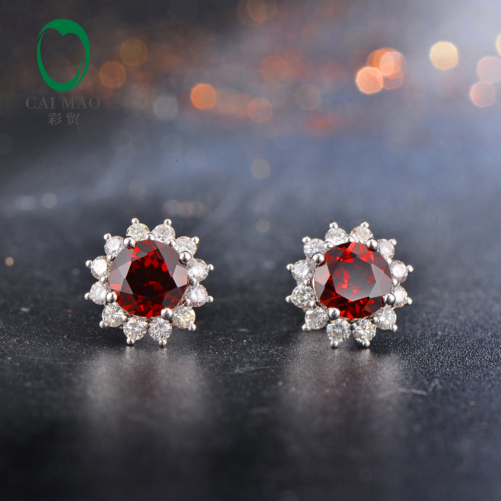 6mm Round Gamet Pave Diamonds 14K White Gold Engagement Wedding Earrings free shipping