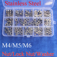 255pcs M4 M5 M6 Stainless Steel Nylon Lock Nut 304 Nut Flat Washer Metric Assortment Kit