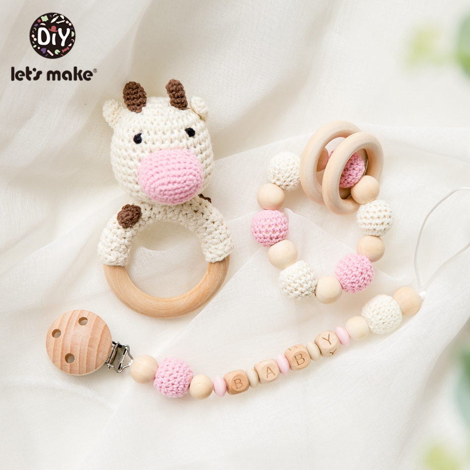 Let's Make 1pc Wooden Teether Amigurumi Baby Pacifier Chain Holder Crochet Mobile Baby Teether Woode Baby Rattle Toy