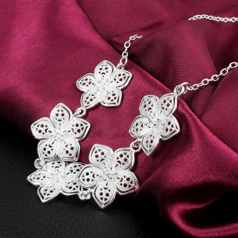 2e5d71322483 Esterlina-plata-joyería 925-sterling-plata collar declaración maxi collier  joyas collares colar bijoux mujeres cadena flor 81