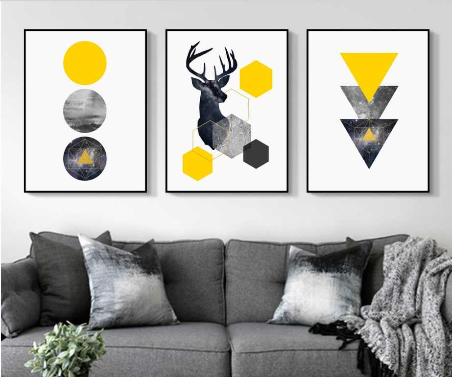 Nordic Style Geometric Starry Abstract Deer Wall Art Print Picture Canvas Painting Poster for Living Room No Framed