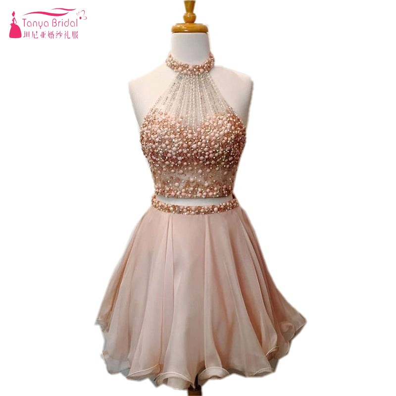 Crystal A Line Champagne Pink Short Prom Dresses 2018 Two Pieces