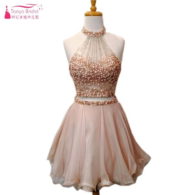 Crystal A Line Champagne Pink Short Prom Dresses 2018 Two Pieces Beadings Prom  Gown 2 piece 47e444849