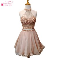 Crystal A Line Champagne Pink Short Prom Dresses 2018 Two Pieces Beadings Prom Gown 2 piece prom dress DQG050