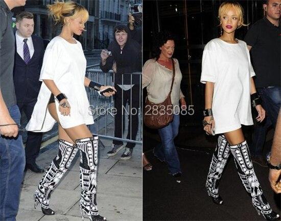 Mélangées Couleurs Piste Rihanna Mode Sur Pic Haute Cuir Glissent Genou Noir Talons Pointes Chaussures Femme Bout As Blanc Ouvert Bottes En Nouvelle Verni YYXrqf