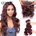 7A Malaysian Human Virgin Hair Body Wave 3 Bundles With 360  Lace Frontal Closure Pure Color # 99J Free Shipping