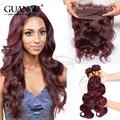 7A cabelo Humano Malaio Onda Do Corpo Do Cabelo Virgem 3 Pacotes Com 360 Fechamento de Renda Frontal Pure Color # 99J Frete Grátis