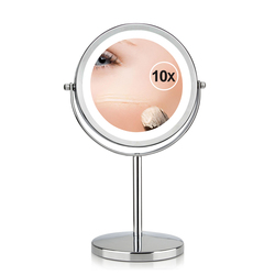 7 дюймов 10x увеличение круговой зеркало для макияжа двойной 2стор круглый Форма 17 светодиодов вращающихся косметическое зеркало Подставке З...