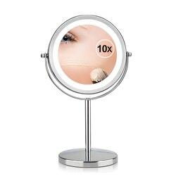 7 pulgadas 10x aumento Circular espejo de maquillaje Dual 2 de forma redonda 17 LED giratorio espejo cosmético lupa de pie espejo