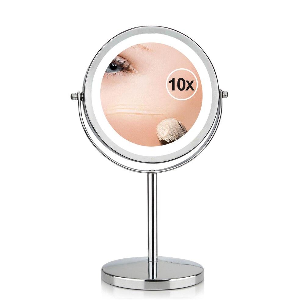 7 zoll 10x Vergrößerung Rund Make-Up Spiegel Dual 2 Seitige Runde Form 17 LEDs Dreh Kosmetik Spiegel Ständer Lupe Spiegel