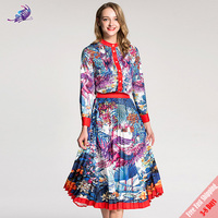 Free Express 2018 Runway Designer Suit Set Women's Long sleeve Firebird Floral Printed Tops Blouse and Pleated Skirt Set