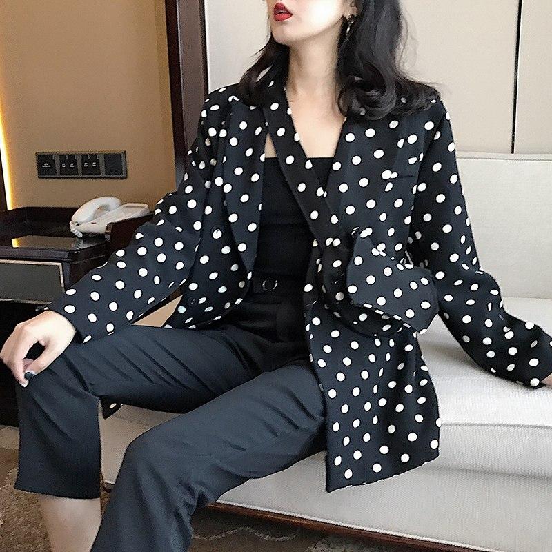 Vintage À Pois Femmes Blazer avec Sac De Taille Crantée Poches Vestes Mode Femme Costumes Outwear 2018 Automne De Bonne Qualité