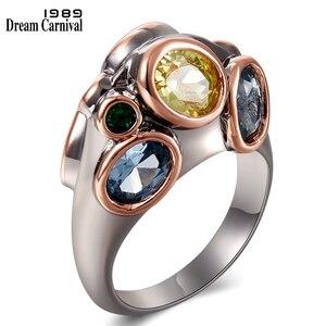 DreamCarnival1989 specjalne w pozycji pionowej projekt kobiety pierścienie podwójne strony duże cyrkonie ślub zaręczyny biżuteria różne wygląd WA11706