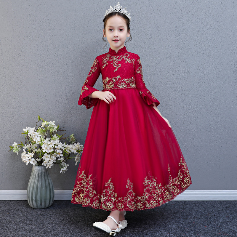 2018 Autumn New High Quality Children Girls Wine-red Birthday Wedding Party Prom Dress Kids Teens Embroidery Lace Flowers Dress 2017 new high quality girls children white color princess dress kids baby birthday wedding party lace dress with bow knot design