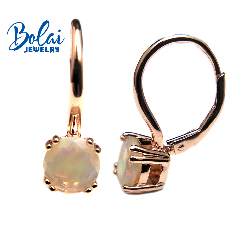 Bolaijewelry,new product Natural opal gemstone clasp earrings 925 sterling silver fine jewelry women anniversary wear best gift natural tanzania bracelet fashionable new product design jewelry exhibition new product 925 silver beautiful lady attention coll