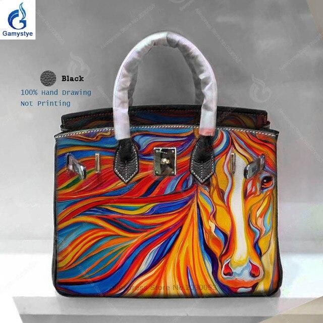 Personality Art Hand Drawing Horse Women Bag Famous Brand Designer Handbags  Sac A Main Genuine Leather Shoulder Bag Yellow Bag Y 1432b34c1aca1