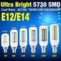 10X Lâmpada Led E12 SMD 5730 Lampada LEVOU Luz 110 V 7 W 9 W 12 W 15 W 20 W 25 W 24-72LEDS Bombillas Lâmpada LED de Milho Luz Lâmpadas LED luz