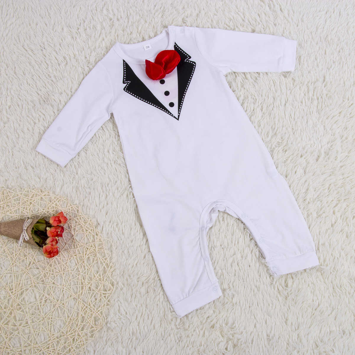 242a40a360d5 ... 2018 Brand New Summer Formal Toddler Baby Gentalman Boys Romper Long  Sleeve Gentle Bow Solid Jumpsuits ...