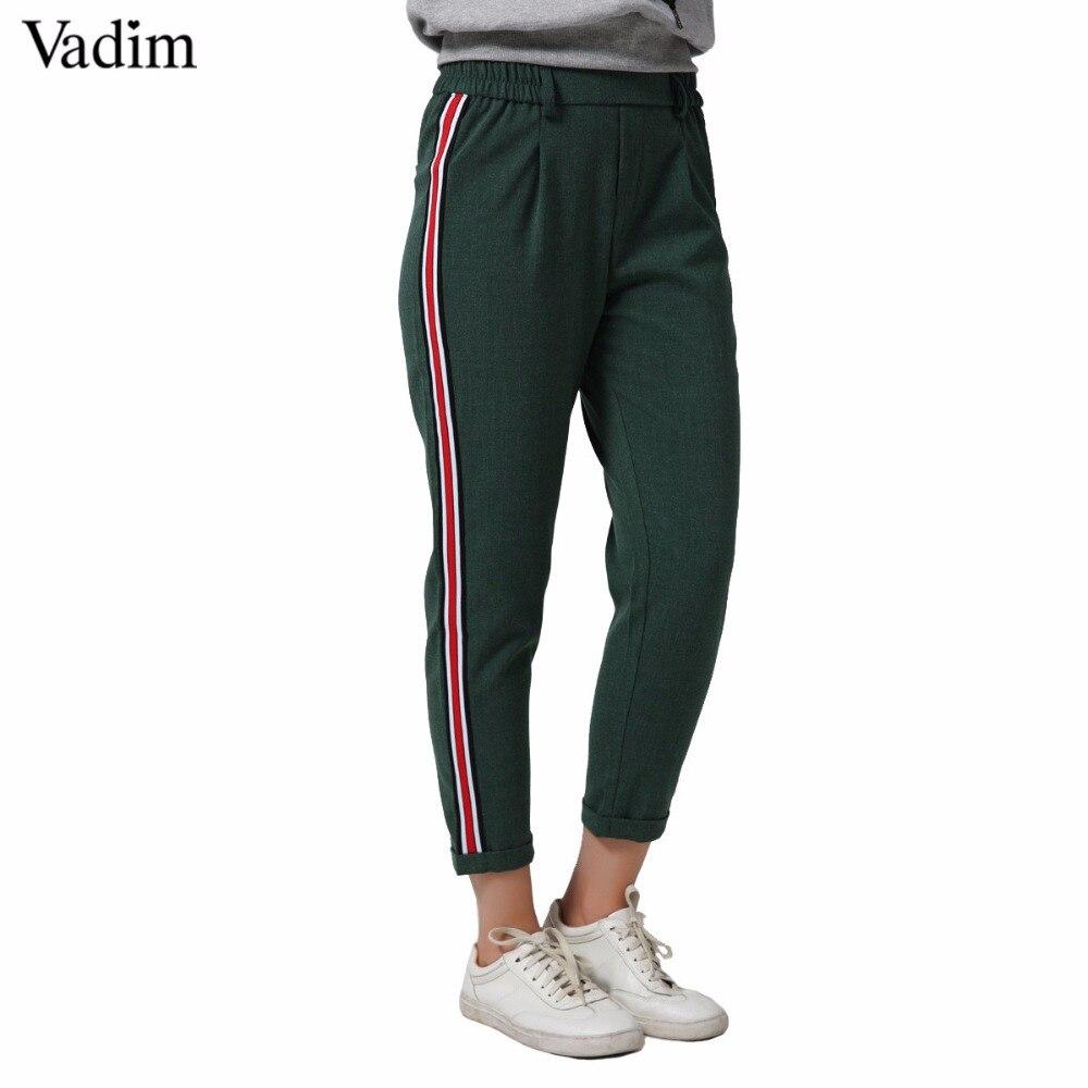 Vadim Women Elegant Side Stripe Pants Elastic Waist Green Black Ladies Autumn Casual Streetwear Fashion Trousers Mujer Kz1162