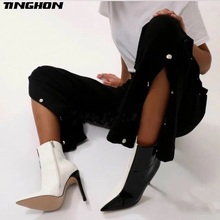 TINGHON Ladies Boots Women Pointy Toe Ankle Boots Concise Style Ladies Thin High Heel Boots Zipper Side Winter Sexy Shoes mixed colors mesh leather women open toe ankle boots sexy lace up side ladies high heel boots zipper back fashion dress shoes