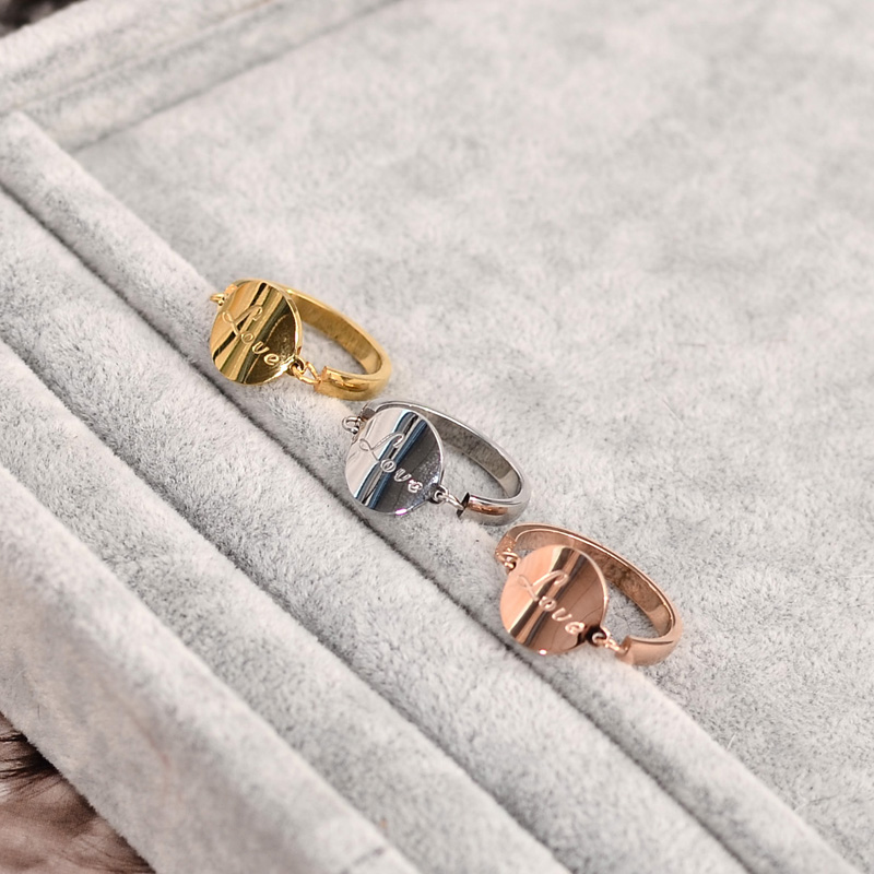 YUN RUO New Arrival Elegant Love Letter Ring for Woman 316 L Stainless Steel Jewelry Rose Gold Silver Color Never Fade Drop Ship