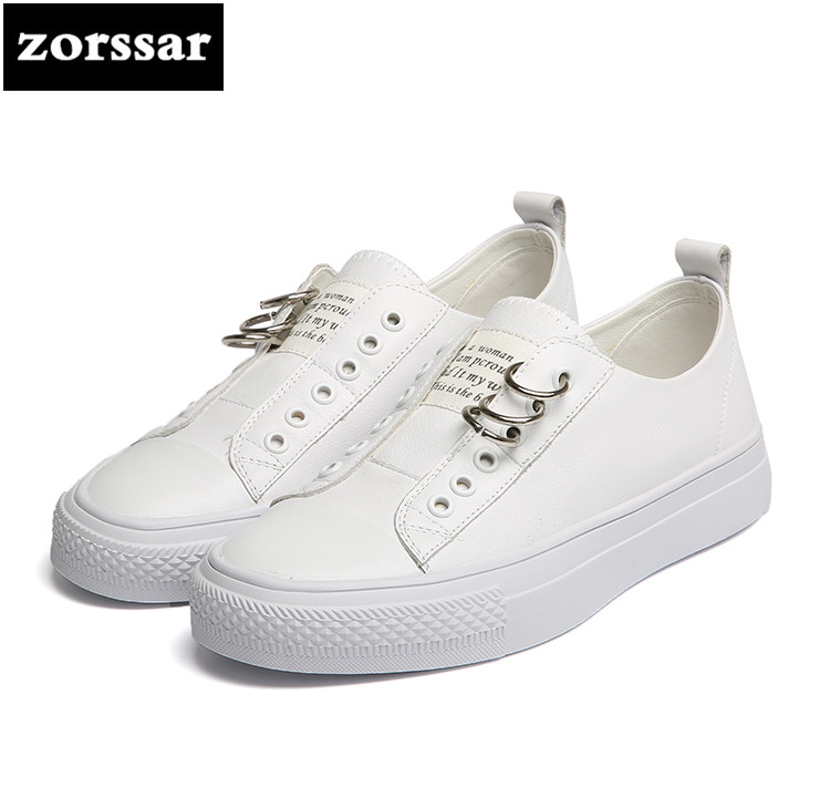 {Zorssar} 2018 Spring Autumn New Genuine cow Leather Flats Women Small White shoes Casual flat Female sneakers shoes Plate Shoes 2016 spring and autumn women s shoes female flat heel maternity shoes genuine leather shoes flats for women
