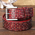 Top Layer Vintage Luxury Rivet Punk Rock Belt Cowskin Genuine Leather Handcrafted Cintos Masculinos Men Hip Hop Waist Strap Red
