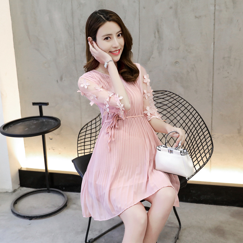 Chiffon Floral Maternity Ptegnancy Dress Short Sleeve Summer Dress For Pregnant Women Maternity-Dress Pregnancy Clothes Outfits