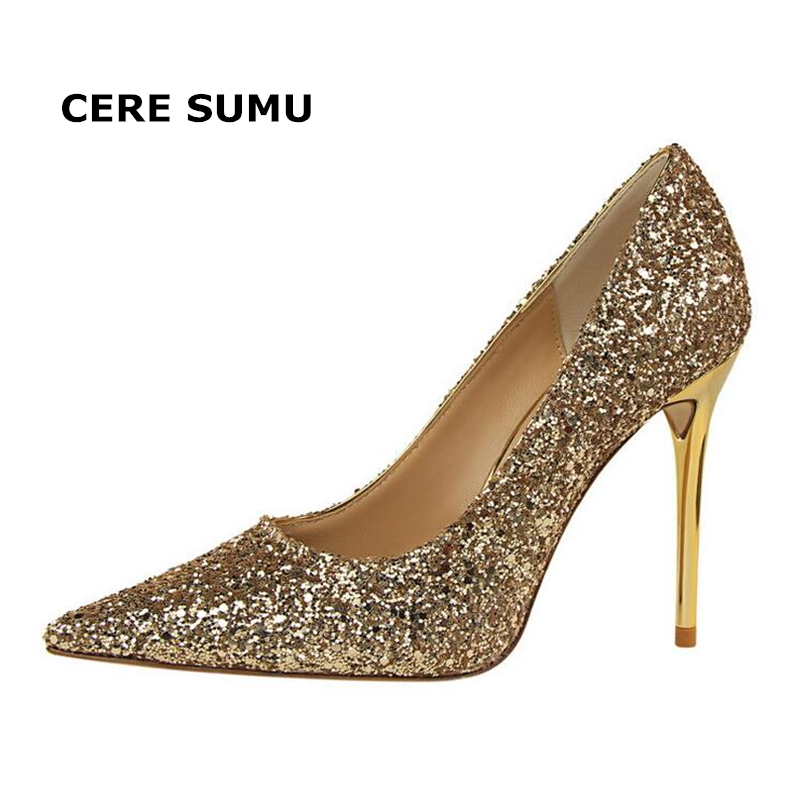 Hot 2018 Spring Autumn Women Pumps Sexy Thin High Heels Bling Sequined Fashion Pointed Toe Wedding Shoes Party Gold Women Shoes annymoli women pumps high heels glitter wedding shoes sexy pointed toe thin heel bridal shoes spring party female pumps red gold
