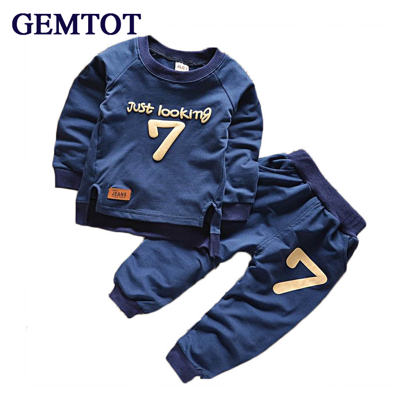 GEMTOT Boys Clothing Suit 2017 Summer New Baby Boy Pattern Digital Long Sleeve Kids Clothes Children Clothing Set
