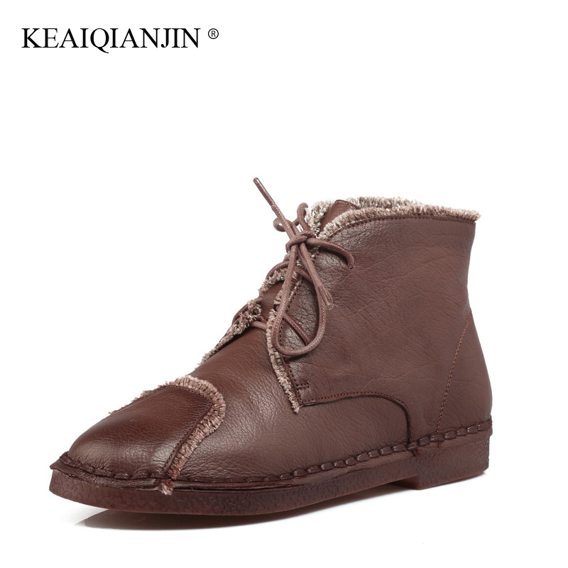 KEAIQIANJIN Woman Genuine Leather Ankle Boots Plus Size 34 - 43 Lace-Up Plush Boots 2017 Autumn Winter Flat With Oxford Shoes odetina fashion genuine leather ankle boots flat woman round toe platform lace up boots autumn winter casual shoes big size 43