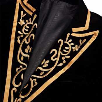 PYJTRL New Mens Fashion Royal Court Prince Black Velvet Gold Embroidery Blazer Wedding Groom Slim Fit Suit Jacket Singer Costume