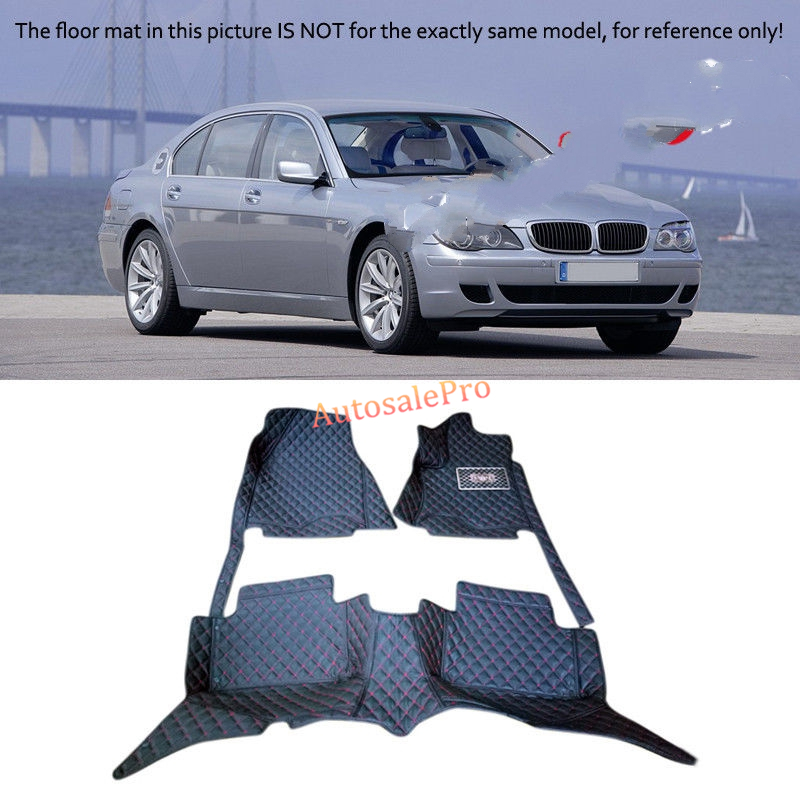 For BMW 7 Series 2005 2006 2007 2008 Right & Left Hand Drive Black Front Rear Floor Mat Carpets Pad cover 2004 2006 for bmw x5 e53 2004 2005 2006 accessories interior leather carpets cover car floor foot mat floor pad 1set