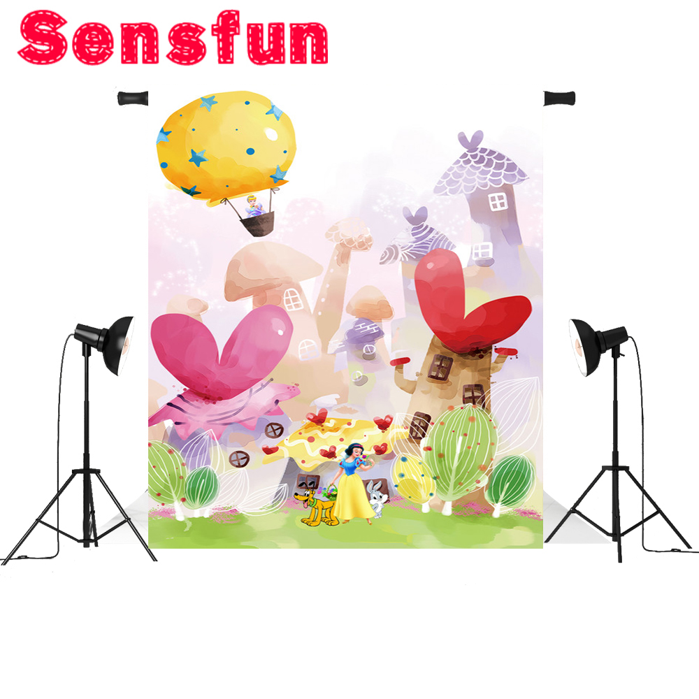 Sensfun Fairy Tale Forest Photography Backdrops Children Backgrounds Photo Studio Mushrooms Elves Flowers Photo Background 5x7ft
