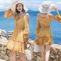 MUMUZI Solid Yellow Ruffled Backless Cold Shoulder Dress Girl Dresses Women Casual Beach Boho Dress Summer Flare Sleeve Vestidos