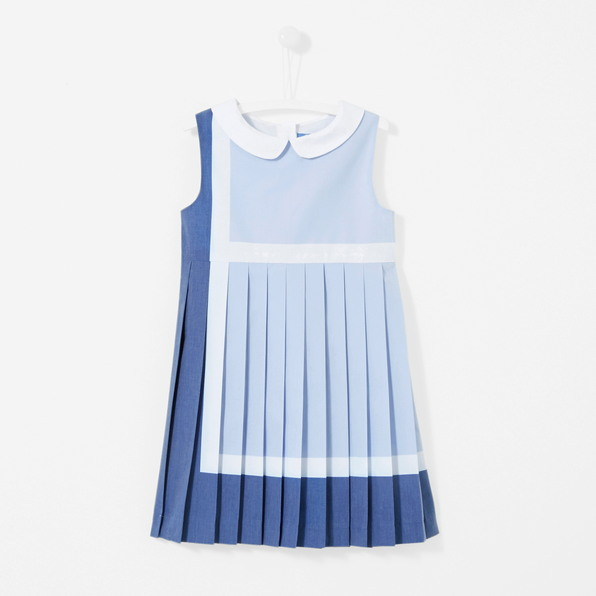 Children's Day poster French high-end girls blue temperament mosaic dress collar collar pleated dress collar color block striped dress