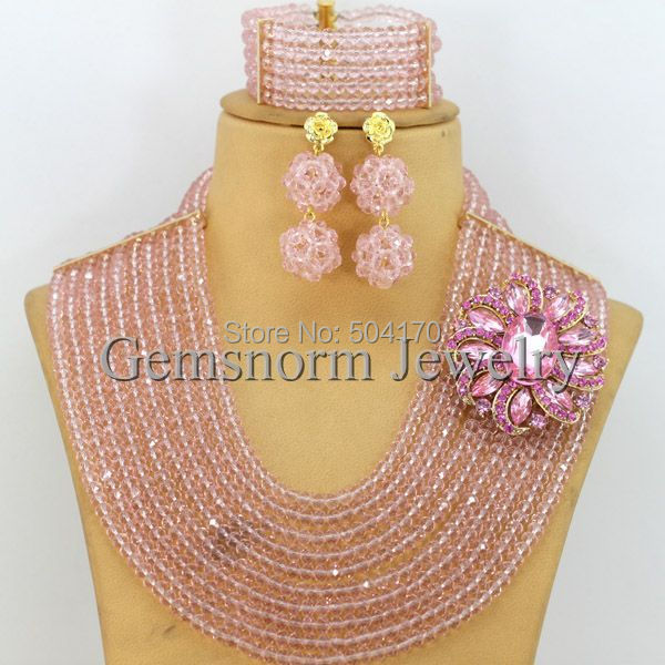 African Beads Jewelry Set Pink African Bead Necklace Set Nigerian Wedding Bead Set Free Shipping GS128