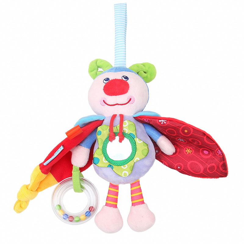 New cute cartoon insect doll pendant baby plush doll sound paper safety mirror toy newborn PP cotton soft doll suitable for 0M in Stuffed Plush Animals from Toys Hobbies